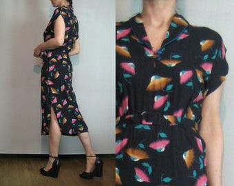 70s 40s JAPANESE FLOWERS LEAVES vtg Asian Style Cotton Rayon Coral Jade Gold Belted Belt Wiggle Midi Dress xs Small 1970s