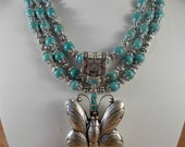 Western Style Necklace Set - Chunky Turquoise Howlite - Handcrafted White Metal Butterfly Pendant