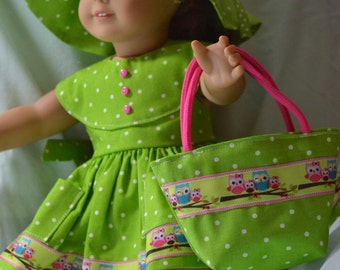 18 Inch Doll Clothes Green Polka Dot Sundress, Panties, Floppy Brim Hat and Matching Totebag by SEWSWEETDAISY