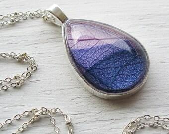 Real Leaf Necklace - Lavender and Purple Teardrop Botanical Necklace