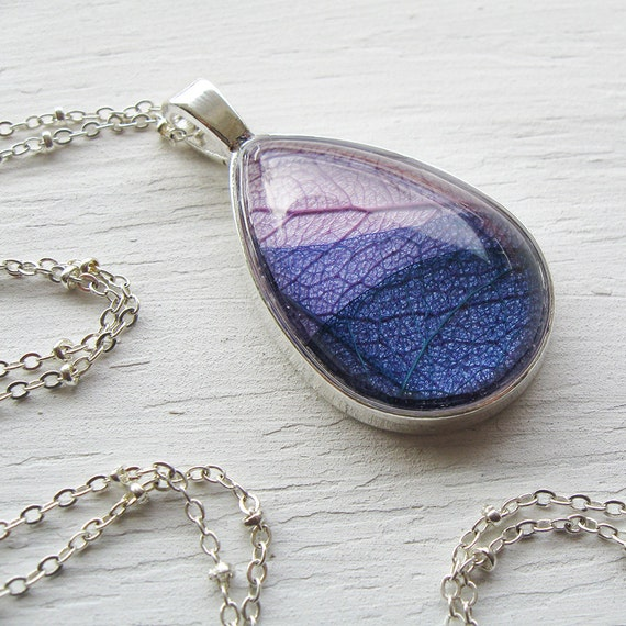 Real Leaf Necklace - Lavender and Purple Layered Leaves - Teardrop Botanical Necklace - Silver and Antique Brass