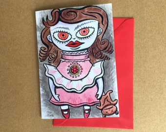 Greeting Card - Evil Dolly? (FREE DOMESTIC SHIPPING)