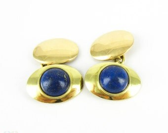 Vintage Lapis Lazuli 18ct Cuff Links. Men's Mid 20th Century Oval Shaped Cufflinks with Round Cabocohon Cut Blue & Gold Lapis.