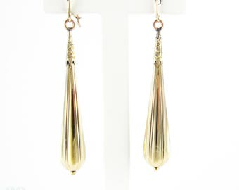 Antique Long Torpedo Drop Earrings, 15 Carat Yellow Gold Dangle Earrings. Late Victorian Circa 1890s
