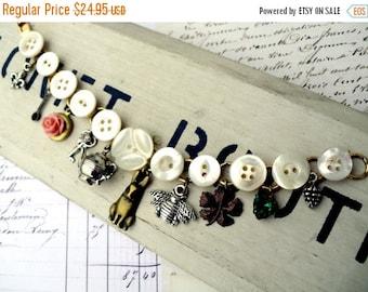 On Sale Tea Pot Button Charmer Vintage Mother of Pearl Button Locket Charm Bracelet