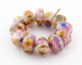 Sheribeads Glass Beads 12 Persian Paisley Spacers Lampwork Pink Gold Blue Raspberry