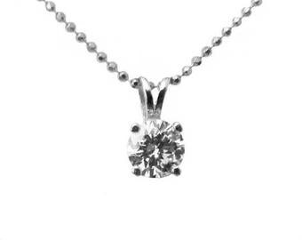 Ready to be Shipped within 3 days SALE Diamond Pendant Solitaire Pendant 4.3mm 14K Yellow or White gold chain included