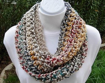 Small INFINITY SCARF, Skinny Loop Scarf, Crochet Winter Cowl, Oatmeal, Red, Dark Teal, Gray, Blue, Mustard Yellow..Ready to Ship in 2 Days