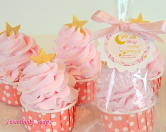 Set of 10 Twinkle Twinkle Star Bubble Bath Cupcake Party Favors with custom tags Baby Girl Shower Baby Boy Shower Favors