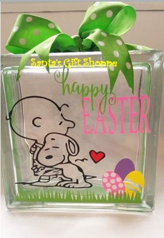 Easter charlie brown and snoopy easter inspired glass for Glass blocks for crafts lowes
