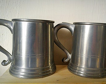 Woodbury Pewterers Mugs-Pair Vintage American Pewter Beer Tankards-Small Pewter Traditional Colonial New England Pub Style Drinking Tankards