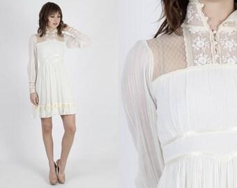 Gunne Sax Dress Festival Dress Bohemian Dress Jessica McClintock Dress Vintage 70s Dress Boho Wedding Dress vory Lace Summer Mini Dress