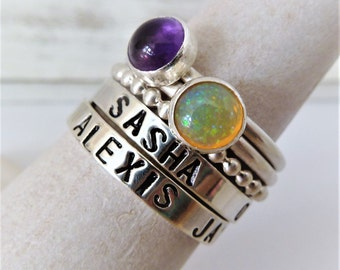 SET of 5 - Custom Name Stacking rings Sterling Silver and Any Birthstone. Amethyst. Aquarius. Opal. Birthstone Name rings. Gift for her