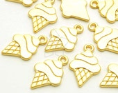 PD-1766-MG / 4 Pcs - Ice Cream Pendant, Illustration Style Gelato Charm Pendant, Matte Gold Plated over Pewter / 12mm x 19mm