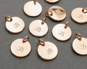 IN-481-RG / 2 Pcs - Initial Charm, Letter Disc Charms, Simple Plain Circle Stamp Pendant, Upper case, B, Rose Plated over Brass / 10mm