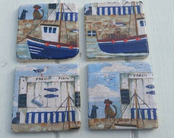 Coastal Harbour Coaster Set of 4 Tea Coffee Beer Coasters