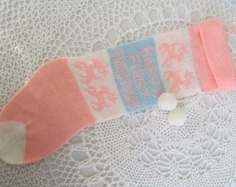 Vintage Machine Knit Christmas Stocking Babys First White Pink Blue Pom Poms