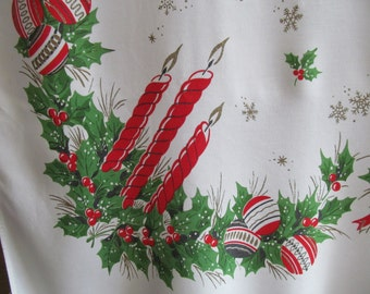 Vintage Christmas Tablecloth Ornaments Holly Red Candles Bells Print Cotton Cloth Table Linens 44 x 52 Square