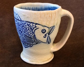 Wood Fired Fish Mug, Handmade, Carved with Slip Inlay, Bass Fishing Coffee Cup for the Fisherman, Fishing Gifts Pottery, For the Outdoorsman