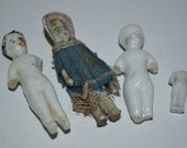 Porcelain bisque mini dolls x 4 - miniature doll people - vintage antique