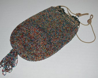 Antique beaded purse - vintage evening bag - handled pouch - drawstring - ladies