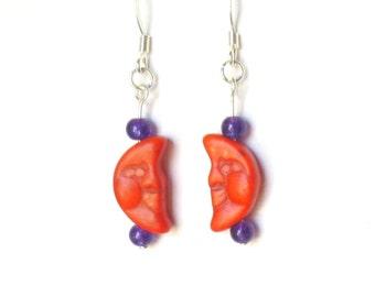 Orange Half-Moon Earrings - Stone Beads & Purple Amethyst Earrings - Costume Jewelry - Man in the Moon - Smiling Face - Boho Earrings