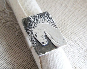 Sass Ring, Silver Horse Ring, Shaped and Carved by Hand, Recycled Fine Silver, by SilverWishes