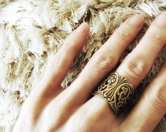 Antique Oxidized Brass Art Nouveau Cuff Ring