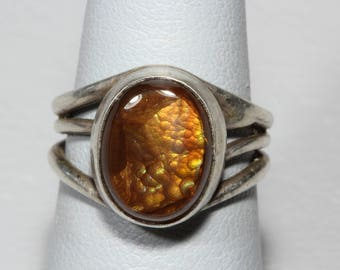 Mexican Fire Agate Ring Vintage Southwestern Sterling Silver Ring Signed