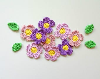 Purple flower appliques with leaves - crochet flowers decorations - spring flowers - kids birthday decorations - party decor - set of 9