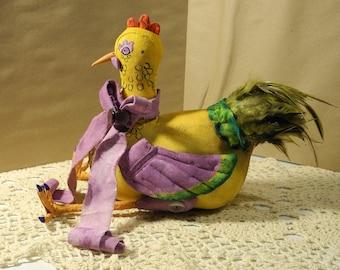Soft Sculpture Chicken-one of a kind artist original-new 2017- sculpture