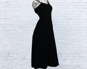 80s Vintage Black Velvet Dress with Fuchsia Pink Net Crinoline  small extra small