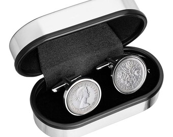 Cufflinks for Men- Handmade Cuff links - English sixpence coin Cufflinks - Wear a piece of history from England