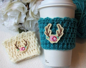 Crochet Coffee Cozy - Antlers and Flowers