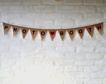 SALE PHOTOBOOTH PHOTO Booth Banner Hessian Burlap Wedding Celebration Party Banner Bunting Rustic Decoration Engagement sign birthday