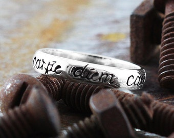 Carpe Diem Ring 14k White Gold Wedding Band Script Rings Jewellery