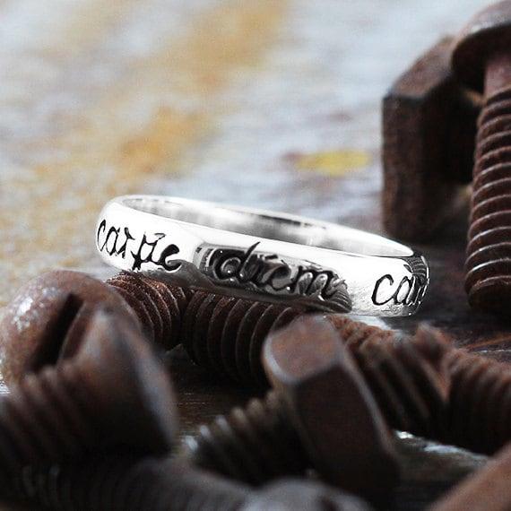 Carpe Diem Ring 14k White Gold Wedding Band Script Rings Jewellery