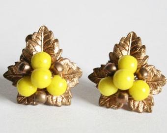 Vintage leaf earrings.  Yellow bead earrings.  Clip on earrings
