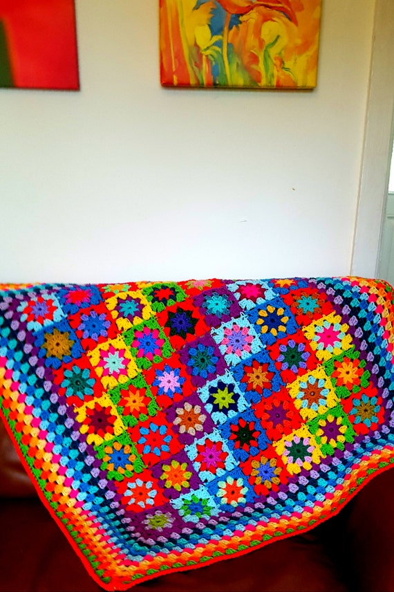 IN STOCK Kaleidoscope Blanket Granny Squares Afghan