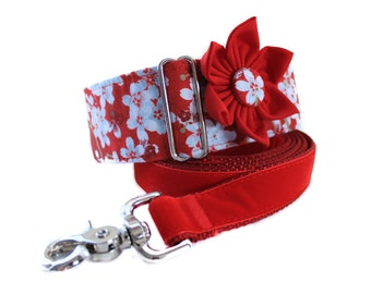 2 inch Martingale Collar, Greyhound Martingale Collar, Red Martingale Collar and Collar Flower, Red Dog Collar and Leash