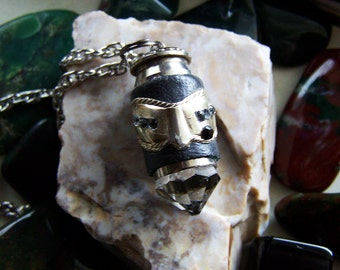 Leather and Crystal Masquerade Bullet Jewelry Pendant
