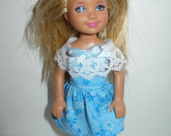 """Handmade 5.5"""" little sister fashion doll clothes - blue floral print dress with lace"""