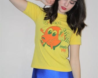 40% Limited time SALE  - 80s Vintage Soda Pop Mello Yello Q-Bert Character Cotton Poly Paper Thin Baby Tee- Vintage 1980s T Shirts - W00570