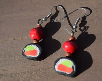 Polymer Sushi Earrings with Red Wood Bead