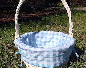 Easter Basket, Monogrammed Easter Basket, Gingham Easter Basket, Easter, Monogram, Easter, Blue, Purple Gingham Liner