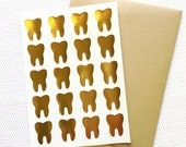 Teeth Stickers / Labels in Gold Foil, Gloss White or Kraft