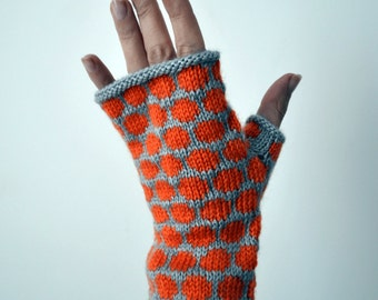 Gray and Orange Gloves With PolKa Dots - Gift For Her - Knit Fingerless Gloves -  Winter Gloves - Fashion Gloves nO 111.