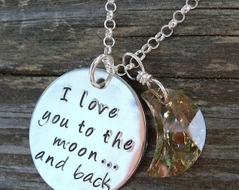 10 dollars off: Love You to the Moon... sterling necklace