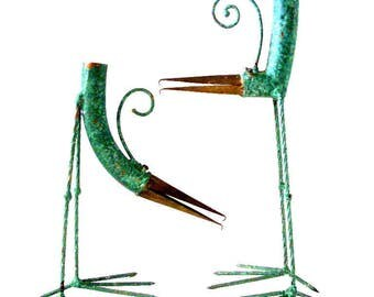 Vintage Pair of BUSHINI Bird Candle Holders - Mid Century Modern Verdigris Brass Brutalist Bird Sculpture  - Modernist Abstract Sculpture