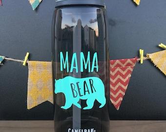 Mama Bear Water Bottle// 32oz Personalized Water Bottle// Water Intake Tracker